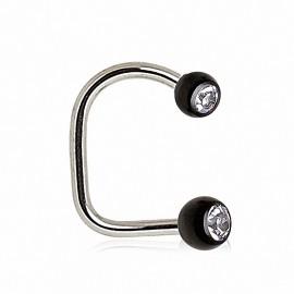 Piercing labret loop boules noires strass