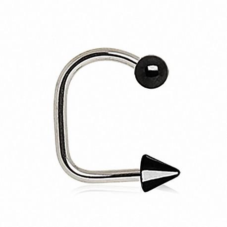 Piercing labret loop boule spike noir