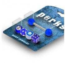 Pack Piercing Langue Gem et Etoile Acrylique Bleu - Bijou Piercing Langue