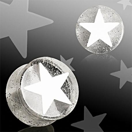 Piercing plug acrylique étoile blanche