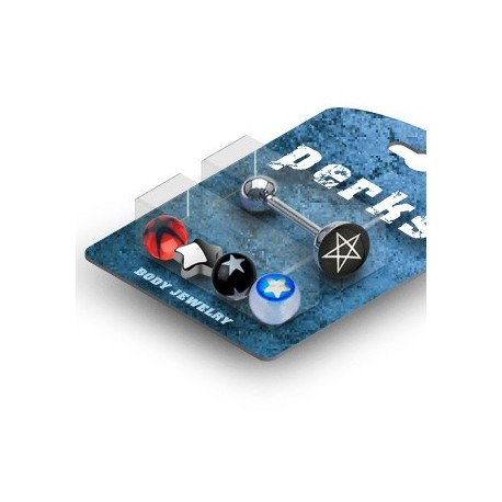 Pack Piercing Langue Etoile Acier et Acrylique (Bleu) - Bijou Piercing Langue