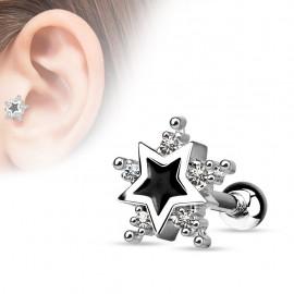 Piercing hélix tragus étoile noire