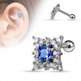 Piercing cartilage carré bleu saphire