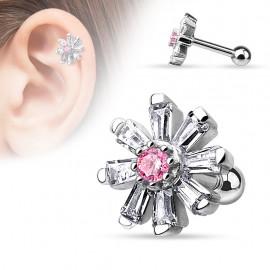 Piercing cartilage fleur rose