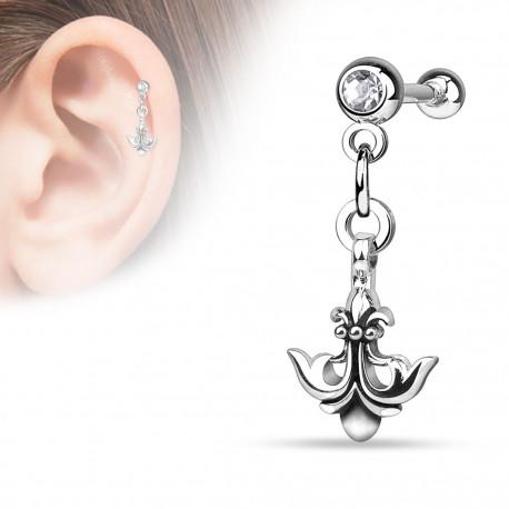 Piercing cartilage ancre fleur de lys