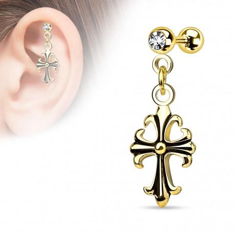 Piercing cartilage plaqué or croix celtique