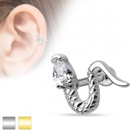 Piercing cartilage serpent strass