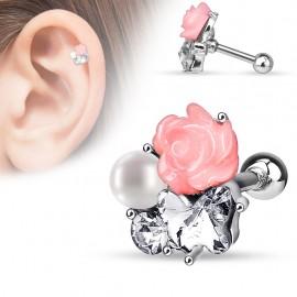Piercing cartilage fleur perle
