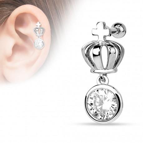 Piercing cartilage couronne gemme