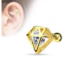 Piercing cartilage plaqué or diamant