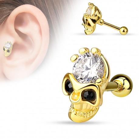 Piercing cartilage plaqué or crâne