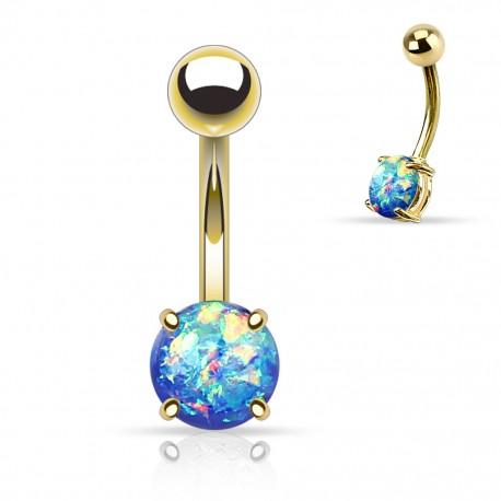 Piercing nombril doré opale paillettée