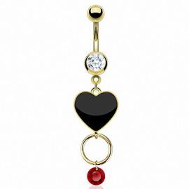 Piercing nombril plaqué or coeur noir