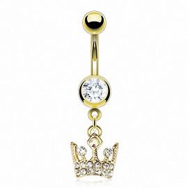 Piercing nombril plaqué or couronne