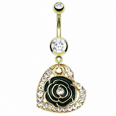 Piercing nombril plaqué or coeur fleur noire