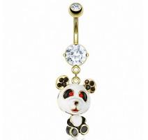 Piercing Nombril acier chirurgical Doré Panda