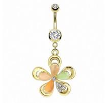 Piercing nombril doré pendentif fleur