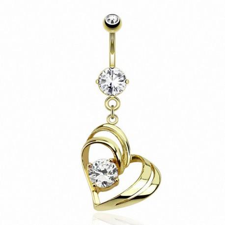 Piercing nombril plaqué or coeur gemme solitaire