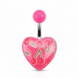 Piercing nombril coeur cerises