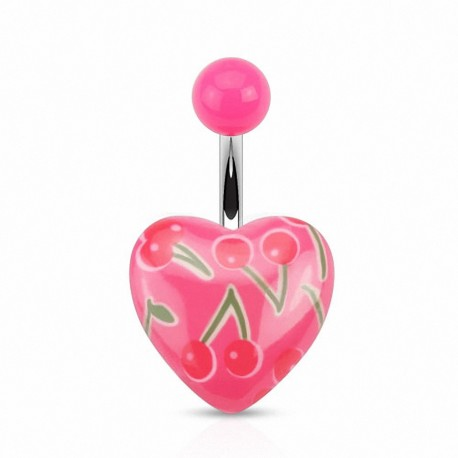 Piercing nombril coeur roses