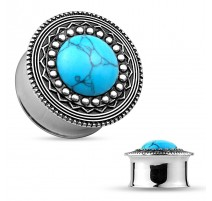 Piercing tunnel tribal turquoise