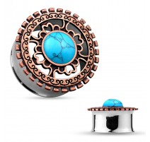 Piercing tunnel tribal turquoise bronze