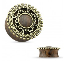Piercing plug tribal bois antique