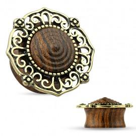 Piercing plug tribal bois plaqué or