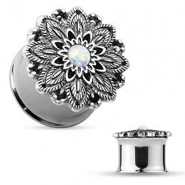 Piercing tunnel fleur de lotus opale