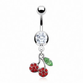Piercing nombril cerise strass