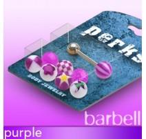 Pack Piercing Langue Boules Acrylique Violet - Bijou Piercing Langue