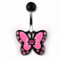 Piercing nombril papillon noir et rose