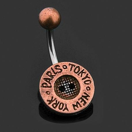Piercing nombril bouton cuivre