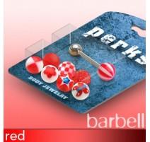 Pack Piercing Langue Boules Acrylique Rouge - Bijou Piercing Langue