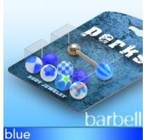 Pack Piercing Langue Boules Acrylique Bleu - Bijou Piercing Langue