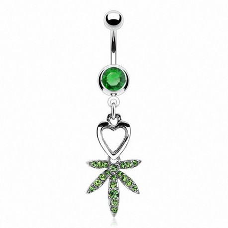 Piercing nombril Coeur Cannabis