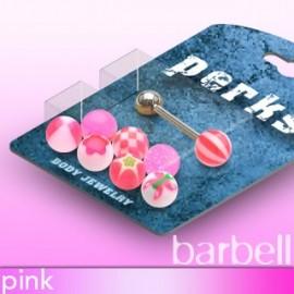 Pack Piercing Langue Boules Acrylique Rose