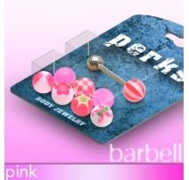 Pack Piercing Langue Boules Acrylique Rose - Bijou Piercing Langue