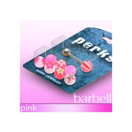 Pack Piercing Langue Boules Acrylique Rose - Bijou Piercing Langue