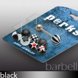 Pack Piercing Langue Boules Acrylique Noir