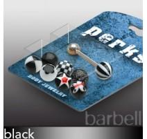 Pack Piercing Langue Boules Acrylique Noir - Bijou Piercing Langue