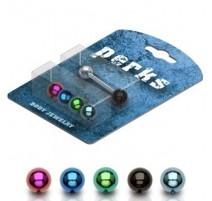 Pack Piercing Langue Acier + Boules Titane anodisé - Bijou Piercing Langue