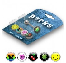Pack Piercing Langue Acier Logos Smiley - Bijou Piercing Langue