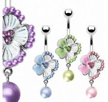 Piercing nombril Fleur et Perles