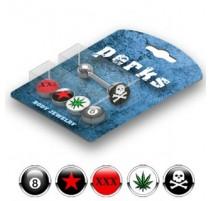 Pack Piercing Langue Acier Logos Cannabis et Tête de mort - Bijou Piercing Langue