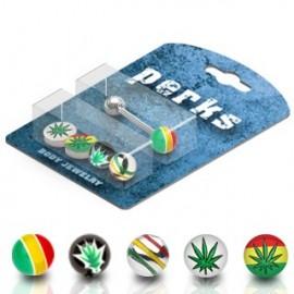 Pack Piercing Langue Acier Cannabis Rasta