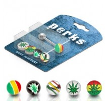 Pack Piercing Langue Acier Cannabis Rasta - Bijou Piercing Langue