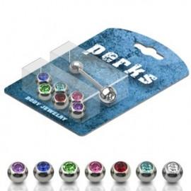 Pack Piercing Langue Acier + 7 Boules serties de Gemmes