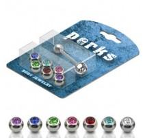 Pack Piercing Langue Acier + 7 Boules serties de Gemmes - Bijou Piercing Langue