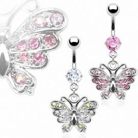 Piercing nombril Papillon Gemmes